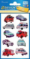 Avery Zweckform Z-Design No. 53745 3D hatású matrica rendőrség-, mentő-, tűzoltó autó motívumokkal - 1 ív / csomag (Avery Z-Design 53745)