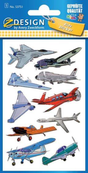Avery Zweckform Z-Design No. 53751 3D hatású matrica különféle repülőgép motívumokkal - 1 ív / csomag (Avery Z-Design 53751)
