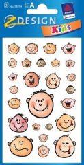 Avery Zweckform Z-Design No. 53874 öntapadó papír matrica - nevető gyerekfejek képekkel - kiszerelés: 3 ív / csomag (Avery Z-Design 53874)