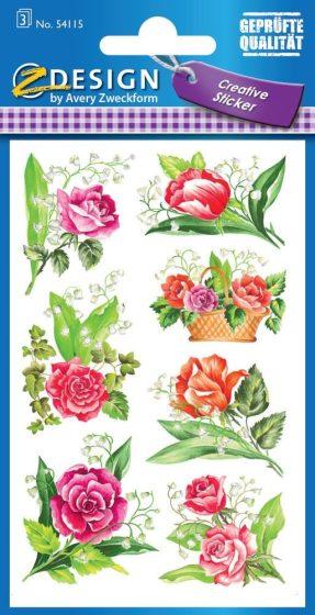 Avery Zweckform Z-Design No. 54115 öntapadó papír matrica - rózsa mintával - kiszerelés: 3 ív / csomag (Avery Z-Design 54115)