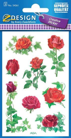Avery Zweckform Z-Design No. 54261 öntapadó papír matrica - piros színű rózsák mintával - kiszerelés: 3 ív / csomag (Avery Z-Design 54261)