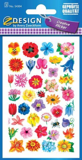 Avery Zweckform Z-Design No. 54304 öntapadó papír matrica - különféle virág mintával - kiszerelés: 3 ív / csomag (Avery Z-Design 54304)