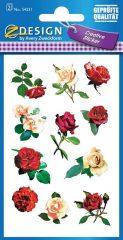 Avery Zweckform Z-Design No. 54331 csillogó, öntapadó papír matrica - piros és fehér színű rózsa motívumokkal - kiszerelés: 2 ív / csomag (Avery Z-Design 54331)