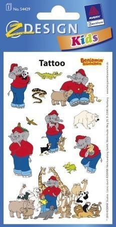 Avery Zweckform Z-Design No. 54429 öntapadó tetoválás matrica - Benjámin elefánt mintákkal - kiszerelés: 1 ív / csomag (Avery Z-Design 54429)