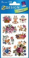 Avery Zweckform Z-Design No. 54455 öntapadó papír matrica - díszes népművészeti virágcsokrok mintával - kiszerelés: 3 ív / csomag (Avery Z-Design 54455)