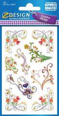 Avery Zweckform Z-Design No. 54457 öntapadó papír matrica - dombornyomott kúszó virágok mintával - kiszerelés: 2 ív / csomag (Avery Z-Design 54457)