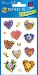 Avery Zweckform Z-Design No. 54458 öntapadó papír matrica - dombornyomott virágokból készült szívek mintával - kiszerelés: 2 ív / csomag (Avery Z-Design 54458)