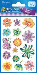 Avery Zweckform Z-Design No. 54484 öntapadó papír matrica - színes virágok motívumokkal - kiszerelés: 2 ív / csomag (Avery Z-Design 54484)