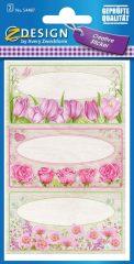 Avery Zweckform Z-Design No. 54487 öntapadó papír matrica - rózsaszínű virágok motívumokkal - kiszerelés: 2 ív / csomag (Avery Z-Design 54487)