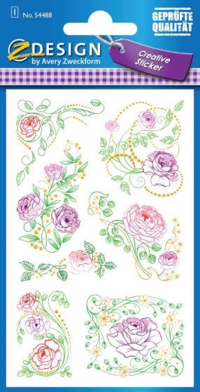 Avery Zweckform Z-Design No. 54488 aranyozott, dombornyomott, öntapadó papír matrica - futórózsák motívumokkal - kiszerelés: 1 ív / csomag (Avery Z-Design 54488)