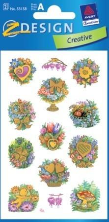 Avery Zweckform Z-Design No. 55158 öntapadó papír matrica - arany dombornyomással, színes virágcsokrok mintával - kiszerelés: 2 ív / csomag (Avery Z-Design 55158)