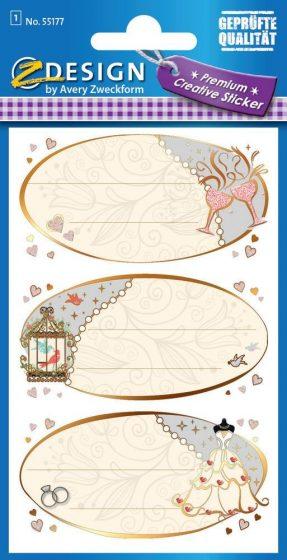 Avery Zweckform Z-Design No. 55177 prémium minőségű, öntapadó papír matrica - esküvői ajándékkísérő motívumokkal - kiszerelés: 1 ív / csomag (Avery Z-Design 55177)