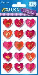 Avery Zweckform Z-Design No. 55179 magasfényű, öntapadó papír matrica - különböző szimbólumok szívekben motívumokkal - kiszerelés: 1 ív / csomag (Avery Z-Design 55179)