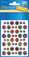 Avery Zweckform Z-Design No. 55231 kristály 3D matrica - különböző színű csillag mintával - kiszerelés: 1 ív / csomag (Avery Z-Design 55231)