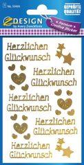 Avery Zweckform Z-Design No. 55490 öntapadó arany színű matrica - Herzlichen Glückwunsch felirattal - kiszerelés: 1 ív / csomag (Avery Z-Design 55490)