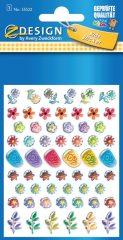 Avery Zweckform Z-Design No. 55522 kristály 3D matrica - különböző színű virág mintával - kiszerelés: 1 ív / csomag (Avery Z-Design 55522)