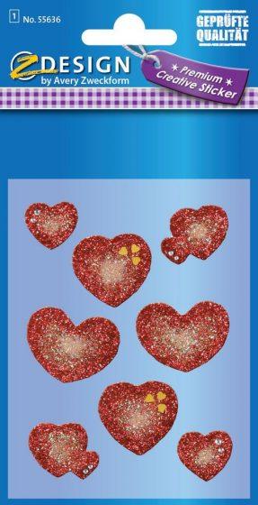 Avery Zweckform Z-Design No. 55636 csillogó varázslatos matrica - piros szívek mintával - kiszerelés: 1 ív / csomag (Avery Z-Design 55636)