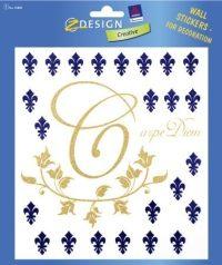 """Avery Zweckform Z-Design No. 55885 átlátszó matrica falak, szobák, bútorok díszítésére - arany és kék """"Carpe Diem"""" motívummal - kiszerelés: 1 ív / csomag (Avery Z-Design 55885)"""
