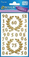 Avery Zweckform Z-Design No. 55991 aranyozott, öntapadó fólia matrica - különféle számokkal - kiszerelés: 1 ív / csomag (Avery Z-Design 55991)