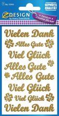 Avery Zweckform Z-Design No. 55993 öntapadó arany színű matrica - Vielen Dank felirattal - kiszerelés: 1 ív / csomag (Avery Z-Design 55993)
