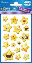 Avery Zweckform Z-Design No. 56091 öntapadó papír matrica - nevető sárga csillagok motívumokkal - kiszerelés: 2 ív / csomag (Avery Z-Design 56091)