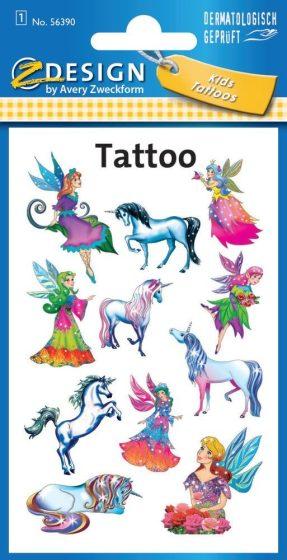 Avery Zweckform Z-Design No. 56390 öntapadó tetoválás matrica - tündérek és unikornisok motívumokkal - kiszerelés: 1 ív / csomag (Avery Z-Design 56390)
