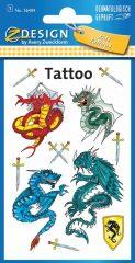 Avery Zweckform Z-Design No. 56404 öntapadó tetoválás matrica - sárkányok és kardok motívumokkal - kiszerelés: 1 ív / csomag (Avery Z-Design 56404)