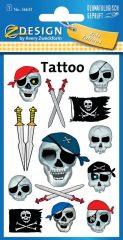 Avery Zweckform Z-Design No. 56632 öntapadó tetoválás matrica - kalóz koponyák és kardok motívumokkal - kiszerelés: 1 ív / csomag (Avery Z-Design 56632)