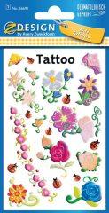 Avery Zweckform Z-Design No. 56691 öntapadó tetoválás matrica - színes virágok motívumokkal - kiszerelés: 1 ív / csomag (Avery Z-Design 56691)