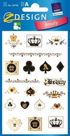 Avery Zweckform Z-Design No. 56706 öntapadó dekorációs matrica - francia kártya motívumokkal - kiszerelés: 1 ív / csomag (Avery Z-Design 56706)