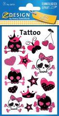 Avery Zweckform Z-Design No. 56731 öntapadó tetoválás matrica - rózsaszínű koponyák motívumokkal - kiszerelés: 1 ív / csomag (Avery Z-Design 56731)