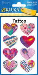 Avery Zweckform Z-Design No. 56741 öntapadó tetoválás matrica - színes szívek motívumokkal - kiszerelés: 1 ív / csomag (Avery Z-Design 56741)