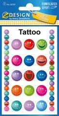 Avery Zweckform Z-Design No. 56750 öntapadó tetoválás matrica - nevető arcok motívumokkal - kiszerelés: 1 ív / csomag (Avery Z-Design 56750)