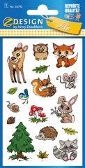 Avery Zweckform Z-Design No. 56792 öntapadó fémhatású matrica - erdei állatok képekkel - kiszerelés: 1 ív / csomag (Avery Z-Design 56792)