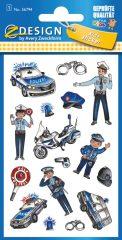 Avery Zweckform Z-Design No. 56794 öntapadó fémhatású matrica - rendőrség képekkel - kiszerelés: 1 ív / csomag (Avery Z-Design 56794)
