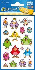 Avery Zweckform Z-Design No. 56797 öntapadó fémhatású matrica - vicces madárkák képekkel - kiszerelés: 1 ív / csomag (Avery Z-Design 56797)