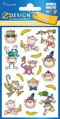 Avery Zweckform Z-Design No. 56798 öntapadó fémhatású matrica - vicces majmocskák képekkel - kiszerelés: 1 ív / csomag (Avery Z-Design 56798)