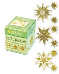 Avery Zweckform Z-Design No. 56823 öntapadó karácsonyi matrica - arany színű jégcsillag motívumokkal - kiszerelés: 1 tekercs, 150 darab matrica / doboz (Avery Z-Design 56823)