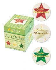 Avery Zweckform Z-Design No. 56824 öntapadó karácsonyi matrica - Frohe Weihnachten felirattal - kiszerelés: 1 tekercs, 50 darab matrica / doboz (Avery Z-Design 56824)