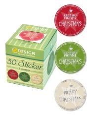 Avery Zweckform Z-Design No. 56828 öntapadó karácsonyi matrica - Merry Christmas felirattal - kiszerelés: 1 tekercs, 50 darab matrica / doboz (Avery Z-Design 56828)