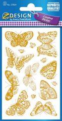 Avery Zweckform Z-Design No. 57024 öntapadó papír matrica - arany dombornyomással, pillangó mintával - kiszerelés: 2 ív / csomag (Avery Z-Design 57024)