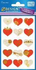 Avery Zweckform Z-Design No. 57025 öntapadó papír matrica - dombornyomással, fehér és piros szívek mintával - kiszerelés: 1 ív / csomag (Avery Z-Design 57025)