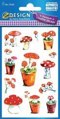 Avery Zweckform Z-Design No. 57028 öntapadó papír matrica - dombornyomással, színes gombák mintával - kiszerelés: 1 ív / csomag (Avery Z-Design 57028)