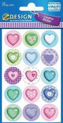 Avery Zweckform Z-Design No. 57511 öntapadó papír matrica - színes szívek mintával - kiszerelés: 2 ív / csomag (Avery Z-Design 57511)
