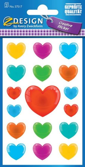 Avery Zweckform Z-Design No. 57517 öntapadó papír matrica - színes szívek motívumokkal - kiszerelés: 2 ív / csomag (Avery Z-Design 57517)