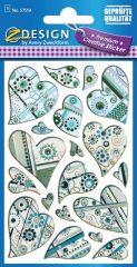 Avery Zweckform Z-Design No. 57519 öntapadó fólia matrica - különböző szívek motívumokkal - kiszerelés: 1 ív / csomag (Avery Z-Design 57519)