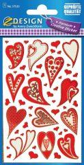 Avery Zweckform Z-Design No. 57520 öntapadó fólia matrica - különböző piros szívek motívumokkal - kiszerelés: 1 ív / csomag (Avery Z-Design 57520)