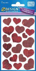 Avery Zweckform Z-Design No. 57872 öntapadó fólia matrica - piros szívek képekkel - kiszerelés: 1 ív / csomag (Avery Z-Design 57872)