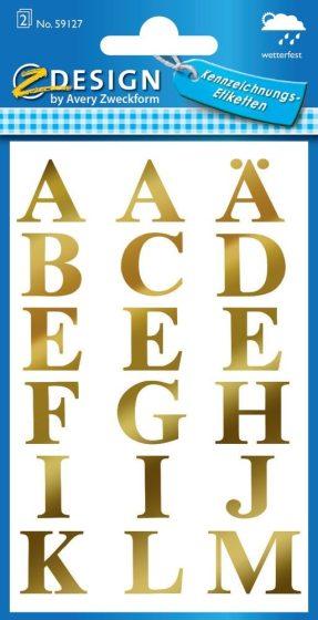 Avery Zweckform Z-Design No. 59127 öntapadó nyomtatott nagybetűk - arany színben - kiszerelés: 2 ív / csomag (Avery Z-Design 59127)