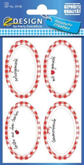Avery Zweckform Z-Design No. 59185 papír matrica befőttes üvegre - kockás kerettel, német felirattal - kiszerelés: 2 ív / csomag (Avery Z-Design 59185)